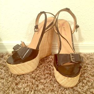 Patent Black Wedge with Buckle